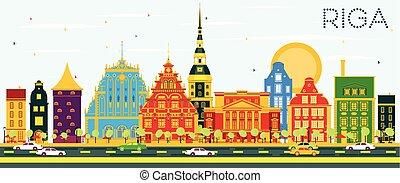 μπλε , κτίρια , sky., χρώμα , riga , γραμμή ορίζοντα