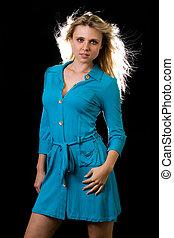 μπλε , κυρία , φόρεμα