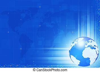μπλε , κόσμοs , τεχνολογία , φόντο