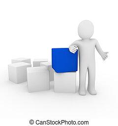 μπλε , κύβος , ανθρώπινος , 3d