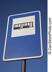 μπλε , λεωφορείο , ουρανόs , σήμα , σταματώ , φόντο