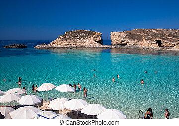 μπλε , - , λιμνοθάλασσα , μάλτα , comino