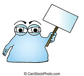 μπλε , μικροβιοφορέας , άμορφη μάζα , illustration.