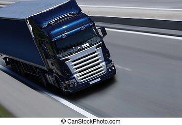 μπλε , μισό ανοικτή φορτάμαξα