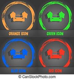 μπλε , μοντέρνος , αυτοκίνητο , μοντέρνος , αθλητισμός , πορτοκάλι , μικροβιοφορέας , πράσινο , icon., style., κόκκινο , design.
