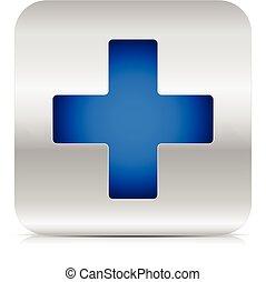 μπλε , μοντέρνος , τετράγωνο , σταυρός , μεταλλικός