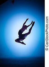 μπλε , μπαλέτο , περίγραμμα , χορευτής , νέος , φόντο. , αγνοώ