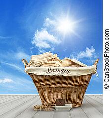 μπλε , μπουγάδα , ουρανόs , εναντίον , αγροτικός , καλαθοσφαίριση , τραπέζι , ρούχα