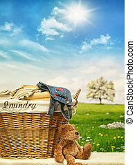 μπλε , μπουγάδα , ουρανόs , εναντίον , καλαθοσφαίριση , ρούχα
