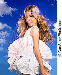 μπλε , μόδα , ουρανόs , μαλλιά , φυσώντας , ξανθή , κορίτσι , φόρεμα