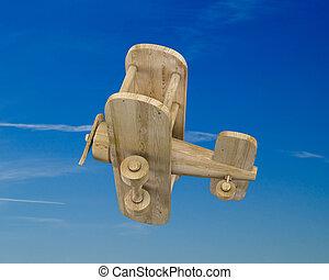 μπλε , ξύλινος , αεροπλάνο , ουρανόs