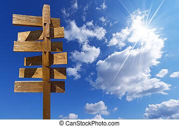 μπλε , ξύλινος , σήμα , θαμπάδα , ουρανόs