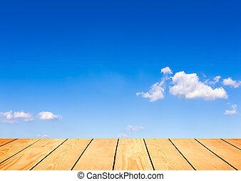 μπλε , ξύλο , ουρανόs , φόντο