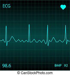 μπλε , οθόνη παρακολούθησης καρδιάς