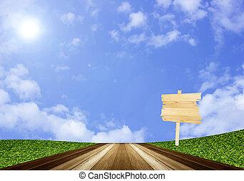 μπλε , πάτωμα , ουρανόs , σήμα , ξύλο , επενδύω δι