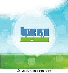 μπλε , πεδίο , ουρανόs , φόντο. , μικροβιοφορέας , πράσινο , αμαυρός