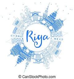 μπλε , περίγραμμα , αξιοσημείωτο γεγονός , riga , space., γραμμή ορίζοντα , αντίγραφο