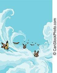 μπλε , πεταλούδες , ιπτάμενος , ουρανόs