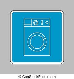 μπλε , πλύση , αναχωρώ. , σήμα , μηχανή , φόντο. , άσπρο , εικόνα