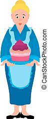 μπλε , ποδιά , γυναίκα , χαρακτήρας , γενέθλια , γελοιογραφία , γιαγιά , κέηκ , γιορτή , μικροβιοφορέας , eps8, διευκρίνιση , φόρεμα , ή