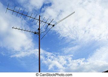 μπλε , προκαταβάλλω , κεραία , τηλεόραση , ουρανόs , σπίτι