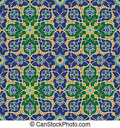 μπλε , πρότυπο , πράσινο , seamless, αραβούργημα