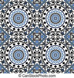 μπλε , πρότυπο , seamless, αραβούργημα
