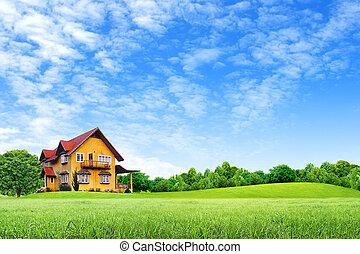μπλε, σπίτι, ουρανόs, πεδίο, πράσινο, τοπίο