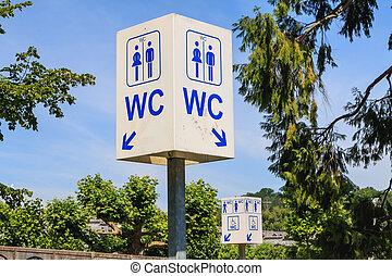 μπλε , τουαλέτα , βοήθεια , υπηρεσία , σήμα , ουρανόs , δρόμοs , περιηγητής