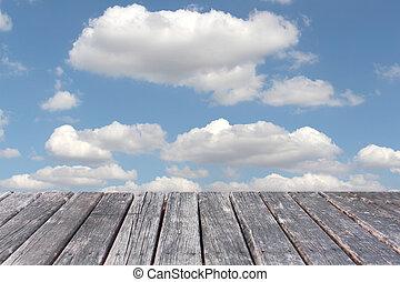 μπλε , τραπέζι , ξύλο , ουρανόs