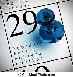 μπλε , φεβρουάριοs , 29th, αυτό είναι , γραμμένος , ημερολόγιο , όπου , καρφάκι εμπηγομένον με τον δάκτυλο