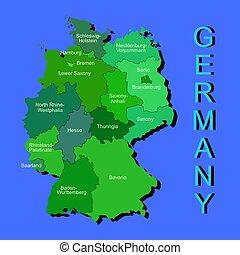 μπλε , χάρτηs , γραφικός , πολιτικός , επαρχία , γερμανία , φόντο