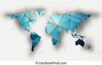 μπλε , χάρτηs , σκιά , polygonal, κόσμοs