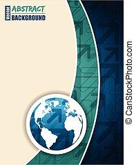 μπλε , χάρτηs , τυρκουάζ , βέλος , φυλλάδιο , κόσμοs