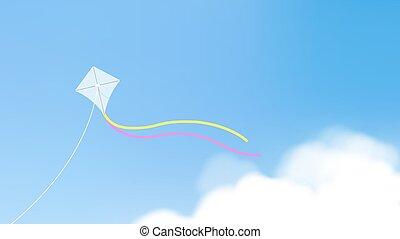 μπλε , χαρταετόs , πάνω , ιπτάμενος , ουρανόs , ευφυής , ουρές , άσπρο , καθαρά