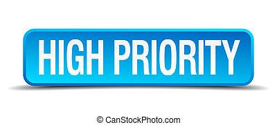 μπλε , ψηλά , τετράγωνο , κουμπί , απομονωμένος , προτεραιότητα , ρεαλιστικός , 3d