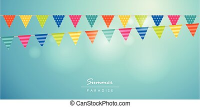 μπλε , ώρα , καλοκαίρι , ουρανόs , φόντο , σημαία , γραφικός , πάρτυ
