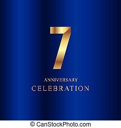 μπλε , 7 , χρυσός , επέτειος , εικόνα , μικροβιοφορέας , σχεδιάζω , φόρμα , έτος , εορτασμόs