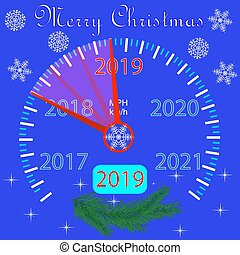 μπλε , branches., χαιρετισμός , 2019, έτος , έλατο , καινούργιος , σημαία , κάρτα