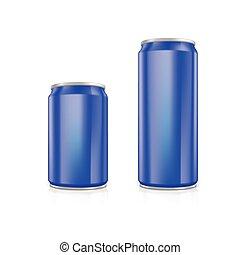 μπλε , cans., αλουμίνιο , θέτω , κενό