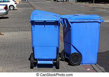 μπλε , cans , σκουπίδια
