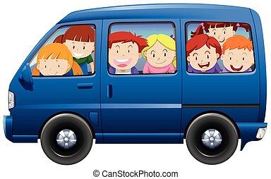μπλε , carpool , βαγόνι αποσκευών , έχει , παιδιά