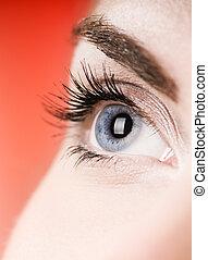 μπλε , dof), μάτι , (shallow, φόντο , κόκκινο