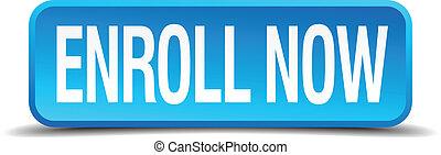 μπλε , enroll, τετράγωνο , κουμπί , απομονωμένος , ...
