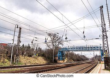 μπλε , footbridge , πάνω , σιδηρόδρομος , μέσα , bratislava , lamac, slovakia
