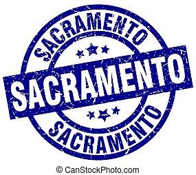 μπλε , sacramento , grunge , στρογγυλός , γραμματόσημο