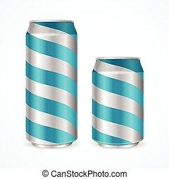 μπλε , stripes., αλουμίνιο , μικροβιοφορέας , cans