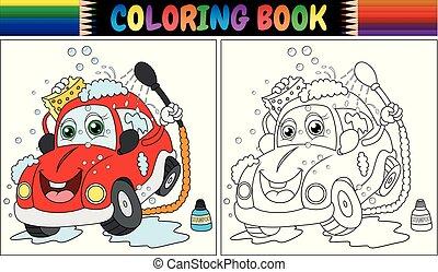 μπογιά , πλύση , αυτοκίνητο , βιβλίο , γελοιογραφία , κόκκινο