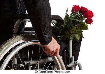 μπουκέτο , ανάπηρος , λουλούδια , άντραs