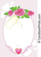 μπουκέτο , από , άκρον άωτο τριαντάφυλλο , με , κάρτα